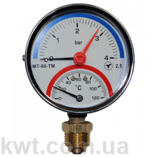 Термоманометр ARTHERMO TI110 (80 мм, 0-4 бар, 0-120 °С)